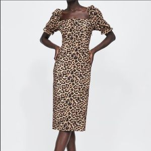 Zara Square Neck Leopard Print Midi Dress